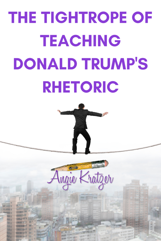 man on tightrope teaching Donald Trump's rhetoric