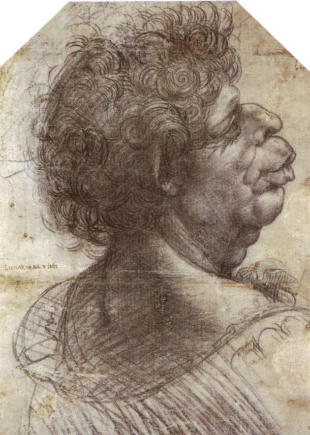 da vinci grotesque study of man sketch to teach tone