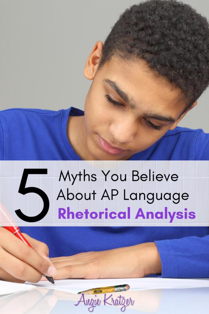 AP Language student at desk writing rhetorical analysis Question 2 essay