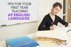 high school English teacher grading essays
