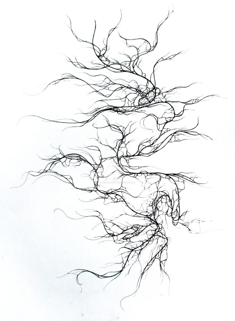 Vein-like abstract pen drawing for icebreaker groups